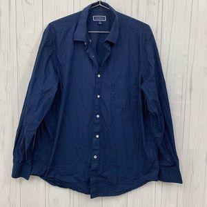 🍍 3/$15 CLUB ROOM BLUE POLKA DOT SHIRT XL